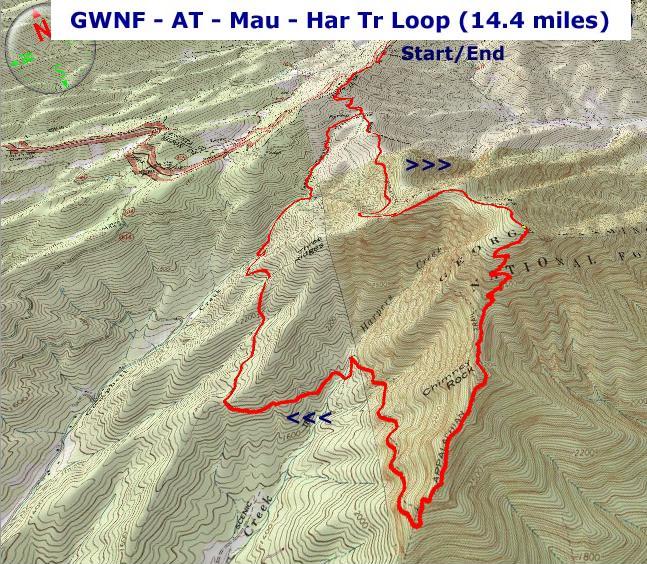 ATMauHar Trail Loop - Appalachian trail topo map